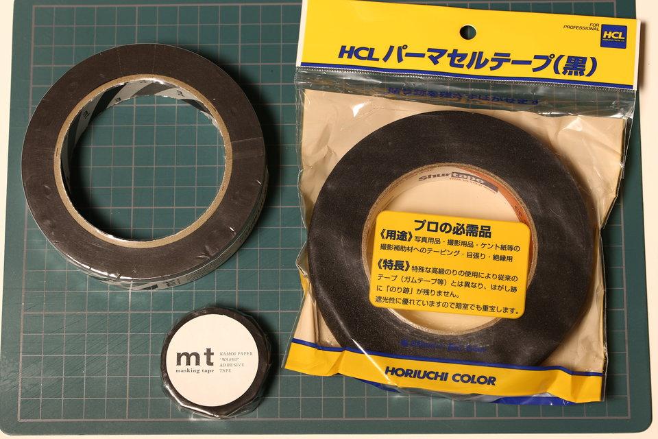 パーマセルテープ(シュアーテープ)、mt foto、mtマスキングテープを比較してみた。